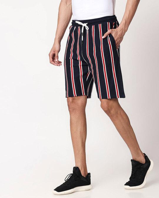 Shop Dark Navy-White-Imperial Red Vertical Stripe Shorts-Back