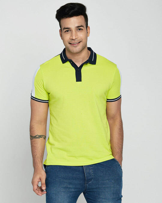 Shop Men's Neon Lime-Navy Sporty Sleeve Panel Polo T-Shirt-Front
