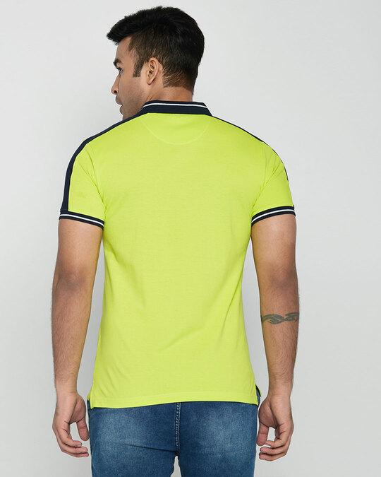 Shop Men's Neon Lime-Navy Sporty Sleeve Panel Polo T-Shirt-Design