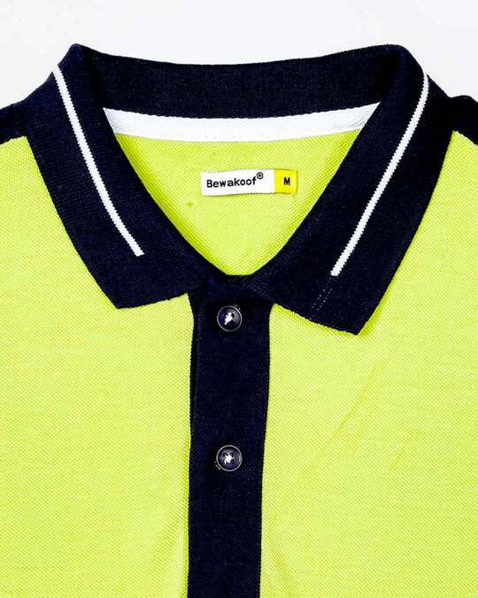 Shop Men's Neon Lime-Navy Sporty Sleeve Panel Polo T-Shirt