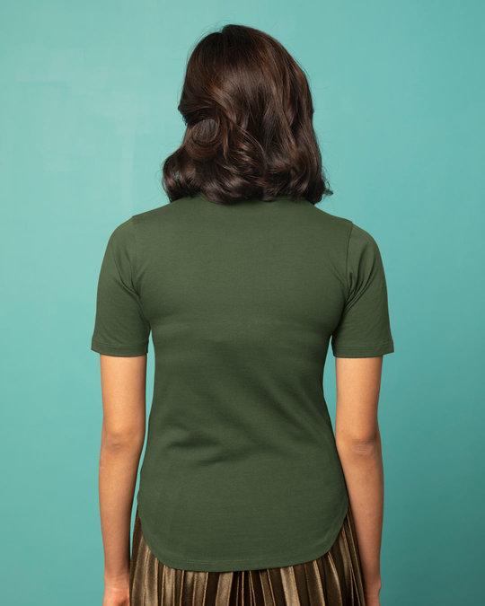 Shop Dark Olive Basic Round Hem T-Shirt-Full