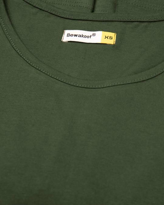Shop Dark Olive Basic Round Hem T-Shirt