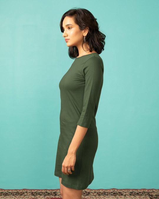 Shop Dark Olive Boat Neck 3/4th Sleeve T-Shirt Dress-Design
