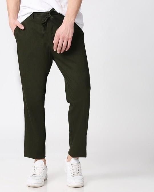 Shop Dark Olive Casual Cotton Pants-Front