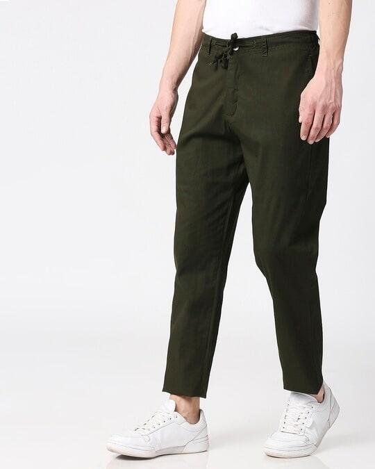 Shop Dark Olive Casual Cotton Pants-Design