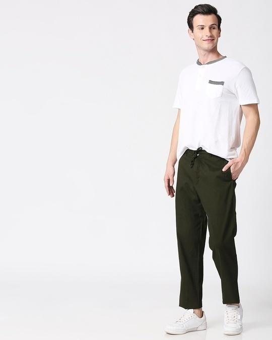 Shop Dark Olive Casual Cotton Pants