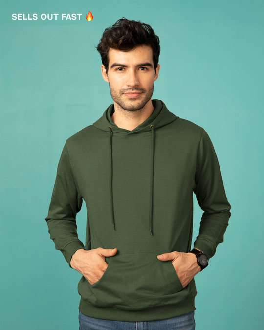 0dc061ca Buy Dark Olive Plain Full Sleeve Hoodies For Men Online India ...