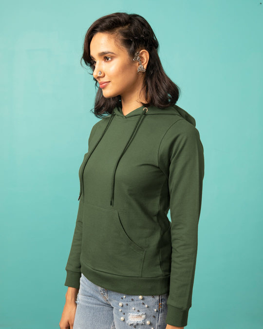 Shop Dark Olive Fleece Hoodies-Back