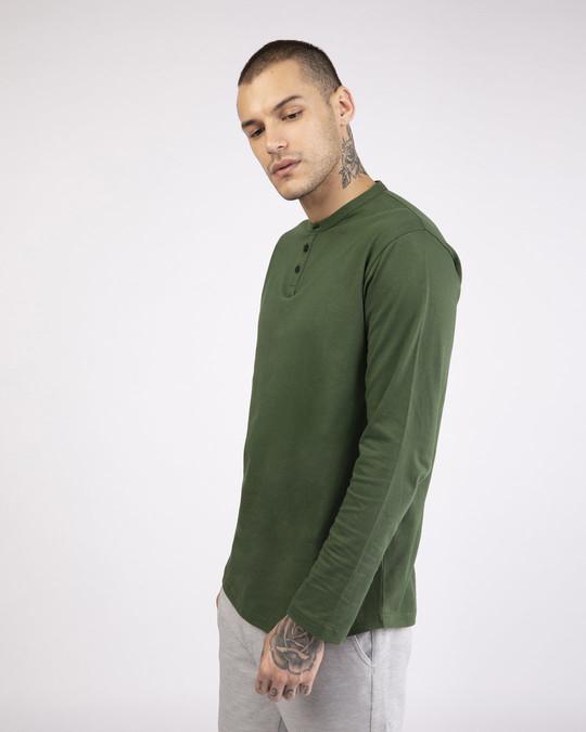 Shop Dark Olive Full Sleeve Henley T-Shirt-Back