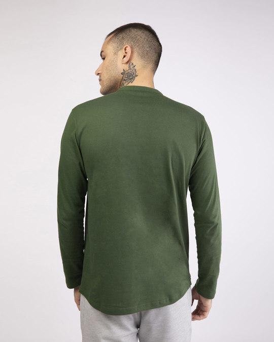 Shop Dark Olive Full Sleeve Henley T-Shirt