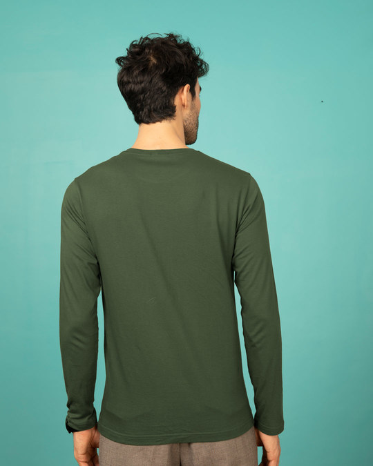 Shop Dark Olive Full Sleeve T-Shirt-Full