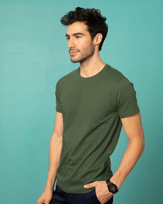 Shop Dark Olive Half Sleeve T-Shirt-Back