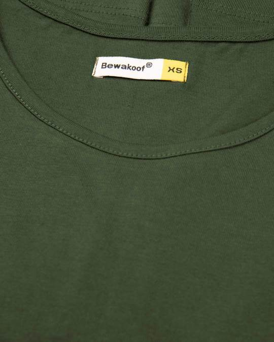Shop Dark Olive Round Neck 3/4th Sleeve T-Shirt