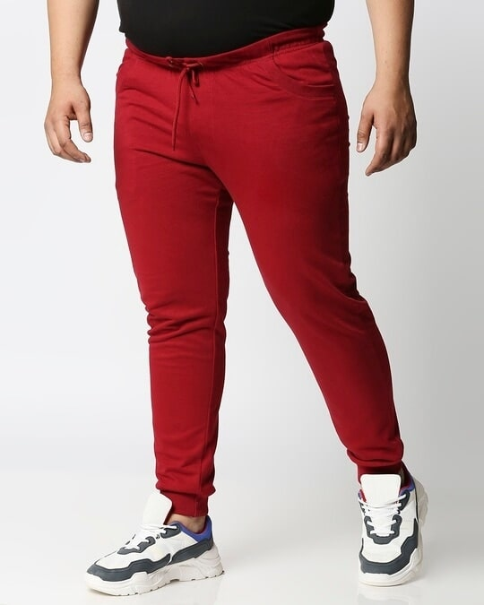 Shop Dark Red Plus Size Casual Jogger Pants-Back