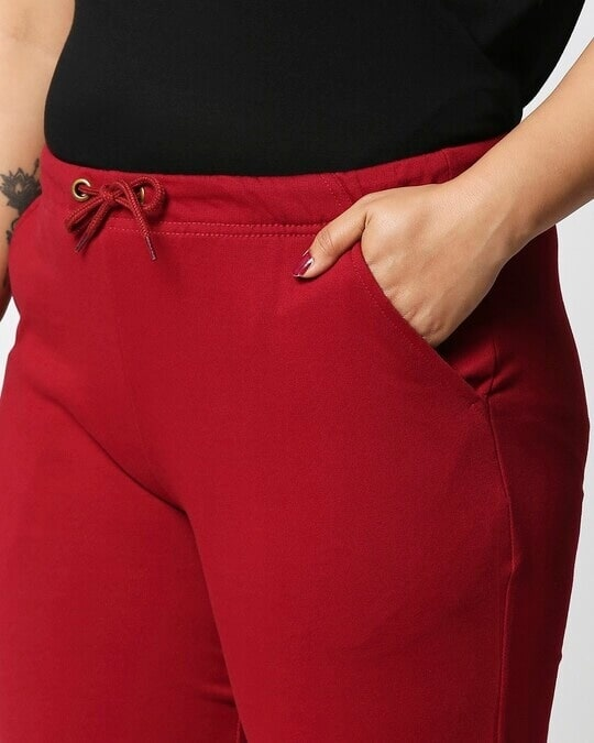 Shop Dark Red Plus Size Casual Jogger Pants