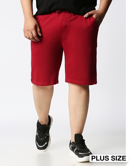 Shop Dark Red Plus Size Casual Shorts-Front