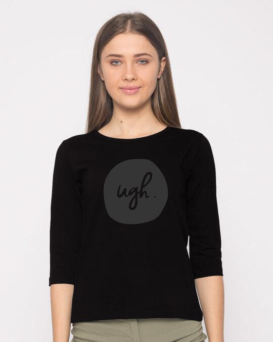 Shop Dark Ugh Round Neck 3/4th Sleeve T-Shirt-Front