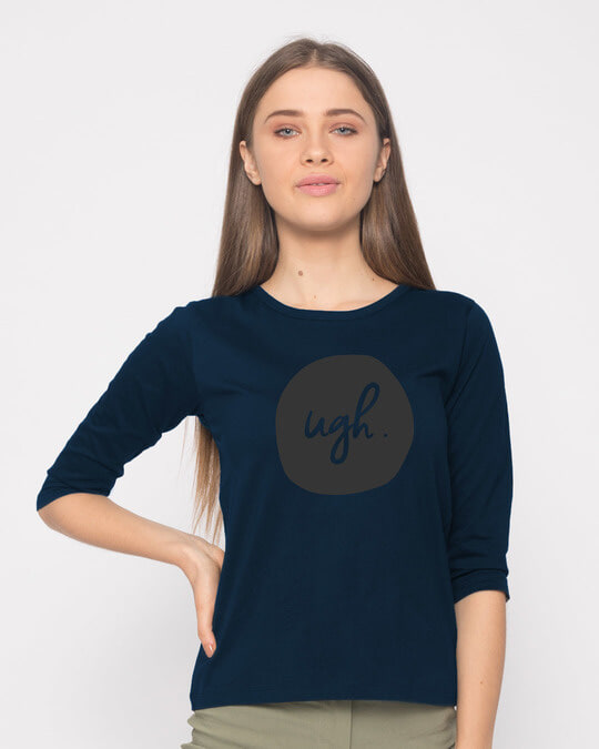 Shop Dark Ugh Round Neck 3/4th Sleeve T-Shirt-Front