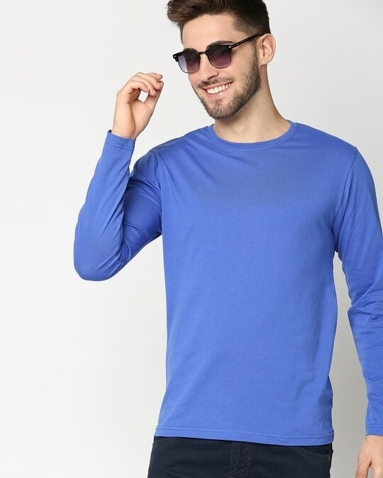 Shop Dazzling Blue Full Sleeve T-Shirt-Front