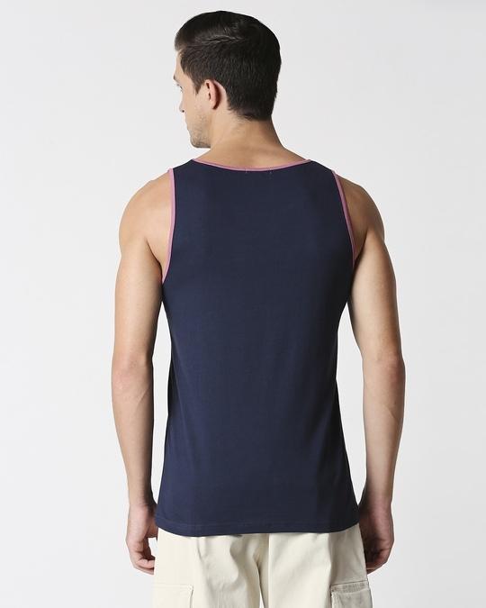 Shop Dazzling Blue Contrast Binding Pocket Vest-Full