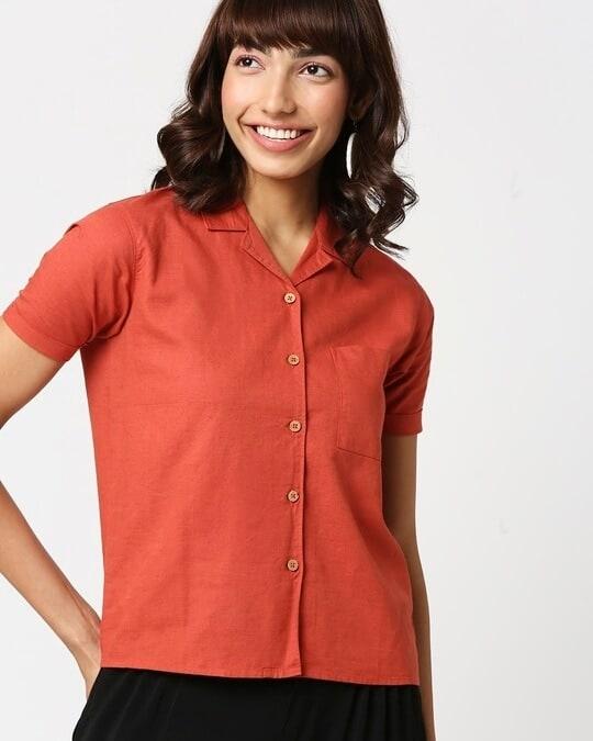 Shop Women's Linen Half Sleeves Lapel Collar Pocket Shirt-Front