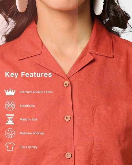 Shop Women's Linen Half Sleeves Lapel Collar Pocket Shirt