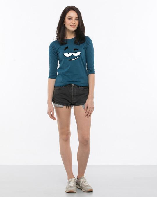 Shop Dead Eyes Round Neck 3/4th Sleeve T-Shirt-Full