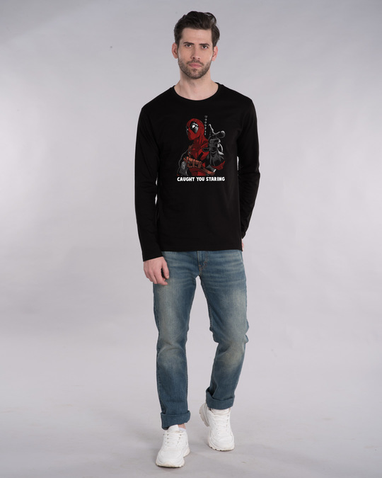 Shop Deadpool Caught You Full Sleeve T-Shirt (DPL)-Design