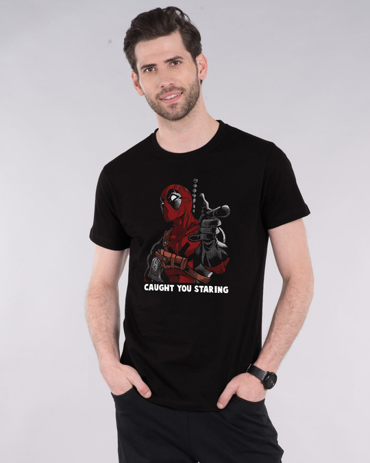 Shop Deadpool Caught You Half Sleeve T-Shirt (DPL)-Front