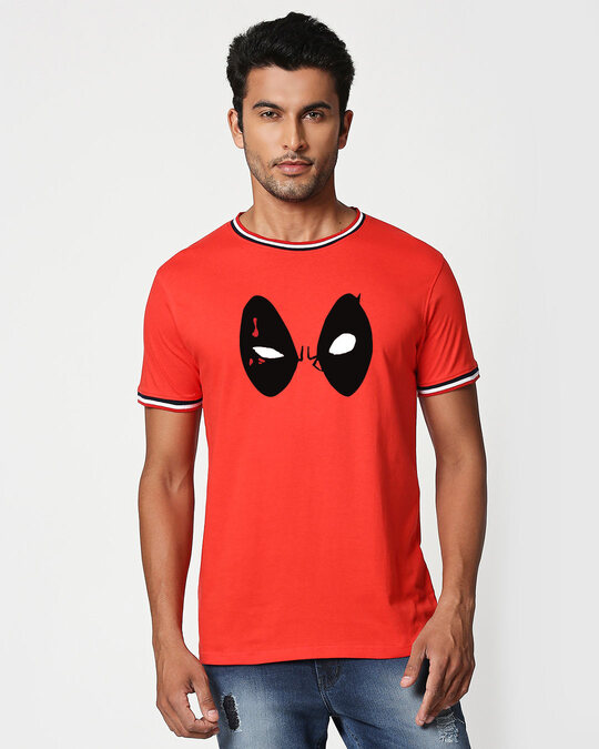 Shop Deadpool Eyes Crewneck Varsity Rib H/S T-Shirt ( DPL)-Multicolor-Front