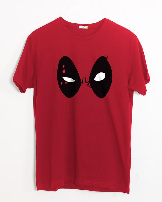 Shop Deadpool Eyes Half Sleeve T-Shirt (DPL)-Front