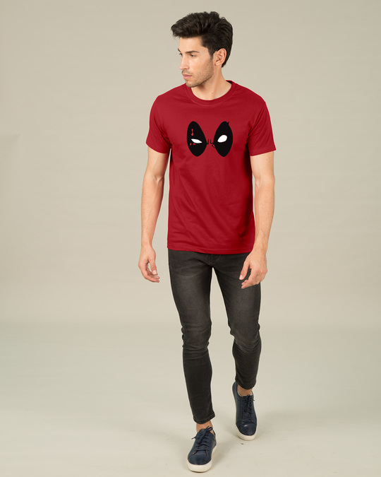 Shop Deadpool Eyes Half Sleeve T-Shirt (DPL)-Design