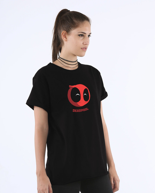 Shop Deadpool Face Boyfriend T-Shirt (DPL)-Back