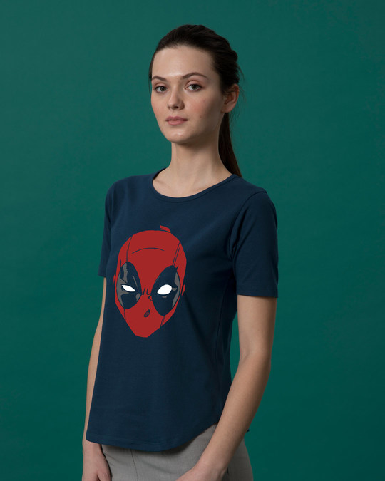 Shop Deadpool Mask Basic Round Hem T-Shirt (DPL)-Back