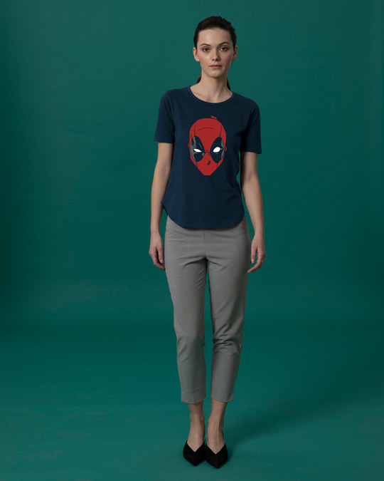 Shop Deadpool Mask Basic Round Hem T-Shirt (DPL)