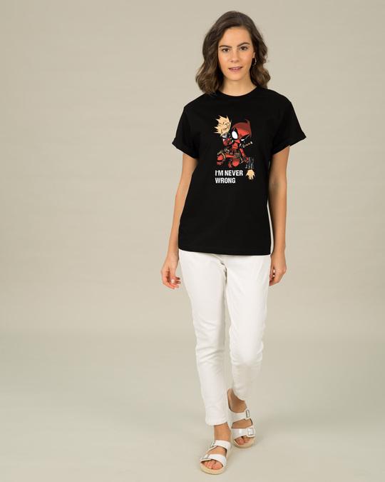 Shop Deadpool Never Wrong Boyfriend T-Shirt (DPL)-Full
