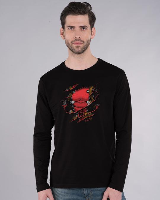 Shop Deadpool Torn Full Sleeve T-Shirt (DPL)-Front