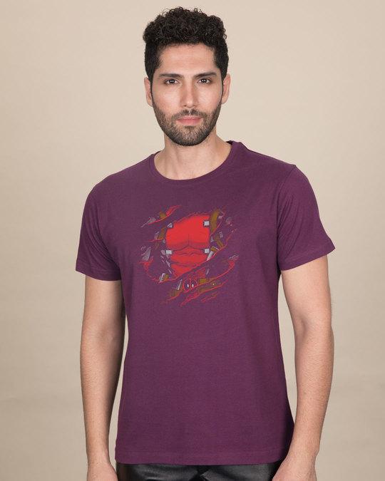 Shop Deadpool Torn Half Sleeve T-Shirt (DPL)-Front