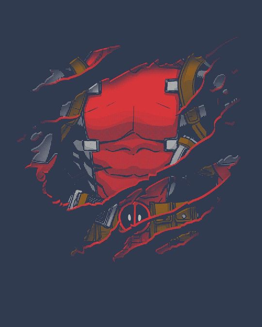 Shop Deadpool Torn Half Sleeve T-Shirt (DPL)-Full