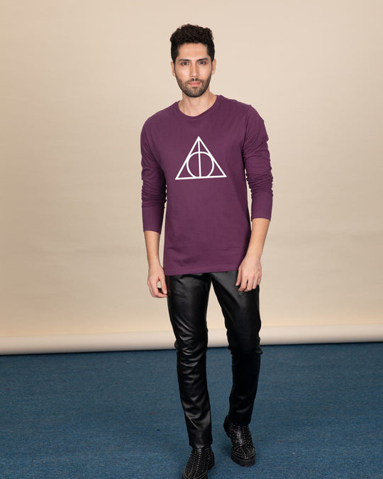 Shop Deathly Hallows Full Sleeve T-Shirt (HPL) (GID)-Full