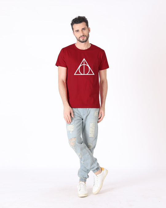 Shop Deathly Hallows Half Sleeve T-Shirt (HPL) (GID)-Design