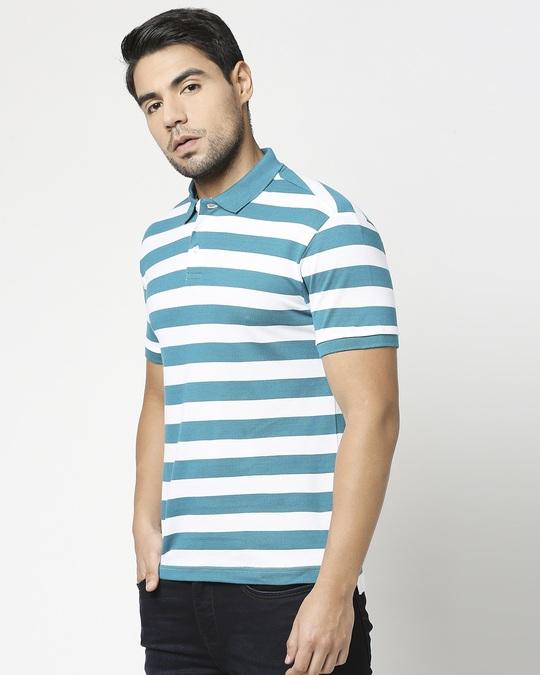 Shop Deep Lake & White Half Sleeve Stripes Polo-Design