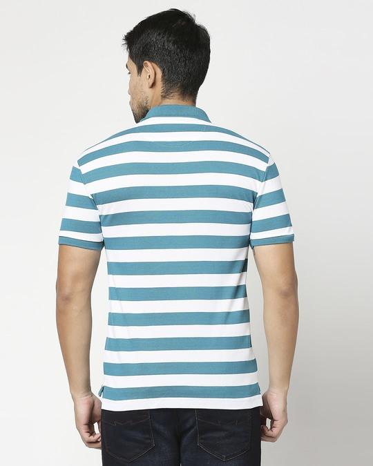 Shop Deep Lake & White Half Sleeve Stripes Polo-Full