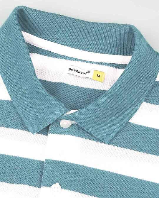 Shop Deep Lake & White Half Sleeve Stripes Polo