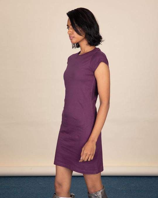 Shop Deep Purple Cap Sleeve Plain T-Shirt Dress-Full