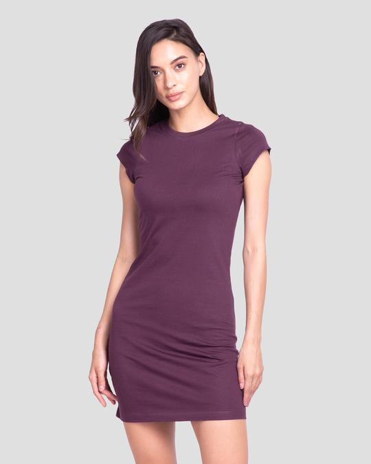 Shop Deep Purple Cap Sleeve Plain T-Shirt Dress-Back