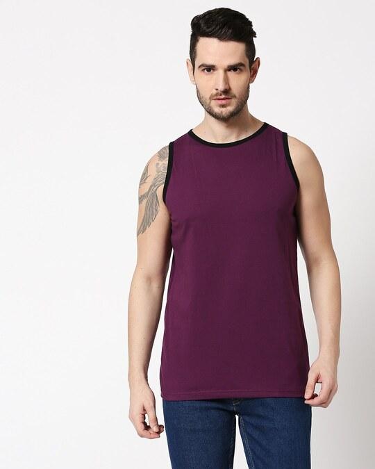Shop Deep Purple Contrast Binding Round Neck Vest-Back