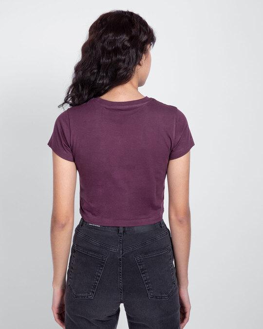 Shop Deep Purple Crop Top T-Shirt-Full