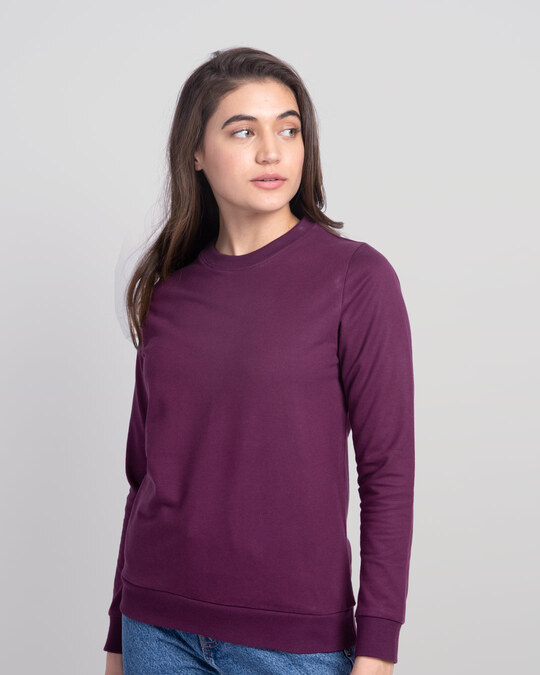 Shop Deep Purple Fleece Light Sweatshirt-Back