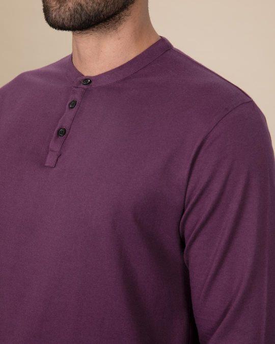 Shop Deep Purple Full Sleeve Henley T-Shirt